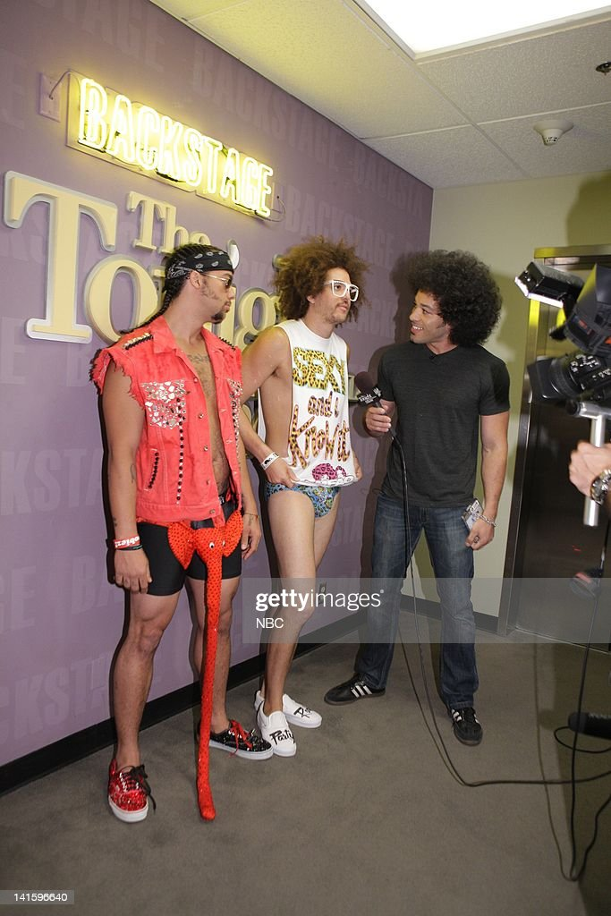 LENO Episode 4109 Pictured LMFAO SkyBlu and Redfoo talk with Brian Branly backstage on September 15 2011 Photo by Paul Drinkwater/NBC/NBCU Photo Bank