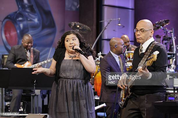 Actress Raini Rodriguez sings with Rickey Minor and The Tonight Show Band during a commercial break on November 30 2011 Photo by Paul...