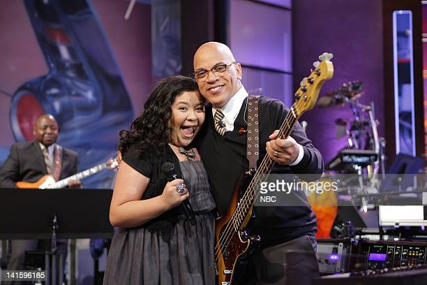 LENO Episode 4156 Pictured Actress Raini Rodriguez sings with Rickey Minor and The Tonight Show Band during a commercial break on November 30 2011...