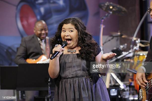 Actress Raini Rodriguez sings with The Tonight Show Band during a commercial break on November 30 2011 Photo by Paul Drinkwater/NBC/NBCU Photo Bank