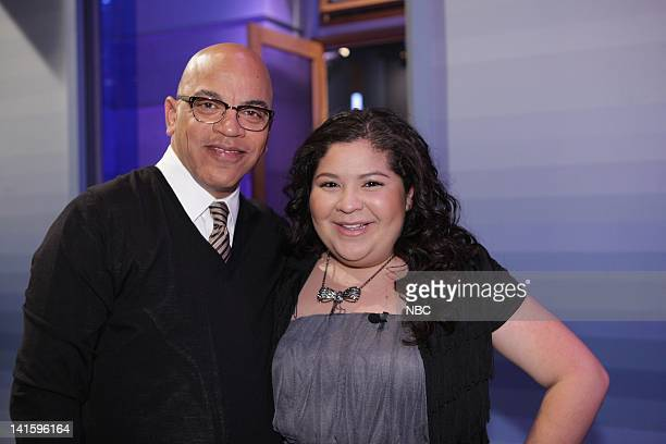 LENO Episode 4156 Pictured Bandleader Rickey Minor backstage with actress Raini Rodriguez on November 30 2011 Photo by Paul Drinkwater/NBC/NBCU Photo...