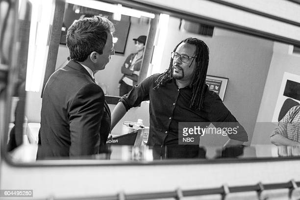 MEYERS Episode 417 Pictured Host Seth Meyers talks with novelist Colson Whitehead backstage on September 12 2016