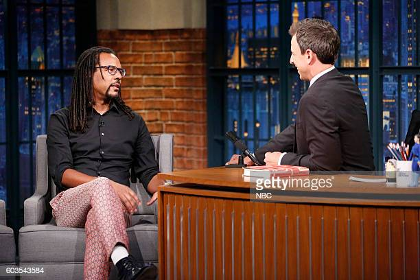 Novelist Colson Whitehead during an interview with host Seth Meyers on September 12 2016