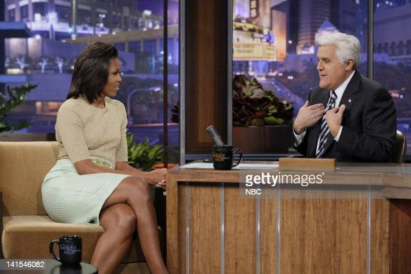 First lady Michelle Obama during an interview with host Jay Leno on January 31 2012 Photo by Stacie McChesney/NBC/NBCU Photo Bank
