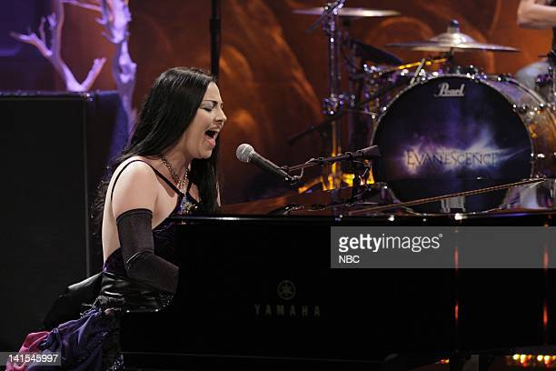 Amy Lee of musical guest Evanescence performs on February 1 2012 Photo by Stacie McChesney/NBC/NBCU Photo Bank