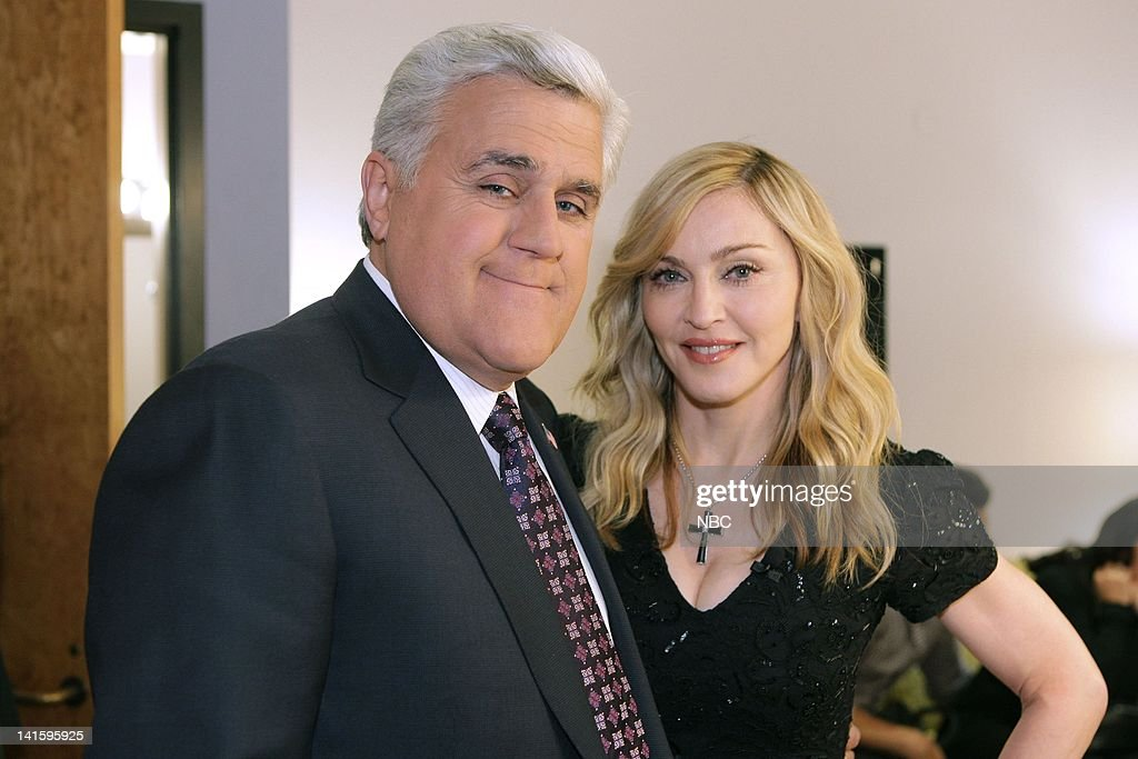 LENO -- (EXCLUSIVE COVERAGE) Episode 4192 -- Pictured: (l-r) Host <a gi-track='captionPersonalityLinkClicked' href=/galleries/search?phrase=Jay+Leno+-+Television+Host&family=editorial&specificpeople=156431 ng-click='$event.stopPropagation()'>Jay Leno</a> and singer <a gi-track='captionPersonalityLinkClicked' href=/galleries/search?phrase=Madonna+-+Singer&family=editorial&specificpeople=156408 ng-click='$event.stopPropagation()'>Madonna</a> backstage on January 30, 2012 -- Photo by: Paul Drinkwater/NBC/NBCU Photo Bank
