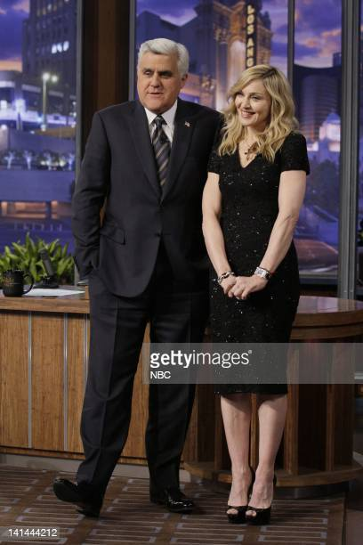 Host Jay Leno and singer Madonna on January 30 2012 Photo by Paul Drinkwater/NBC/NBCU Photo Bank