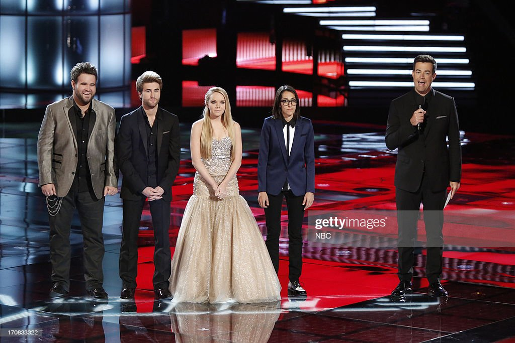THE VOICE -- Episode 419B 'Live Finale' -- Pictured: (l-r) <a gi-track='captionPersonalityLinkClicked' href=/galleries/search?phrase=Zach+Swon&family=editorial&specificpeople=10729542 ng-click='$event.stopPropagation()'>Zach Swon</a>, Colton Swon of The Swon Brothers, Danielle Bradbery, Michelle Chamuel, Carson Daly --