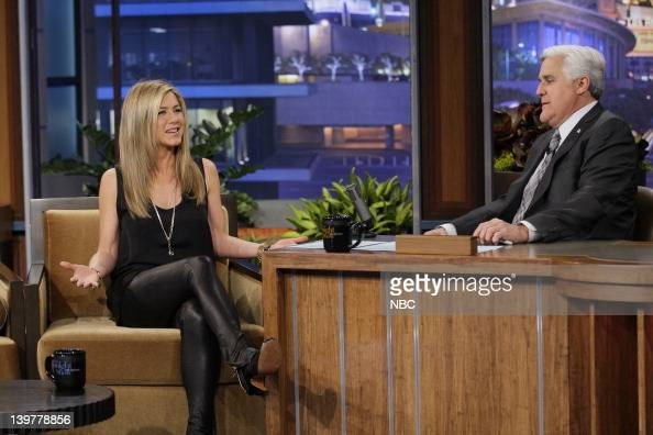 Actress Jennifer Aniston during an interview with host Jay Leno on February 24 2012