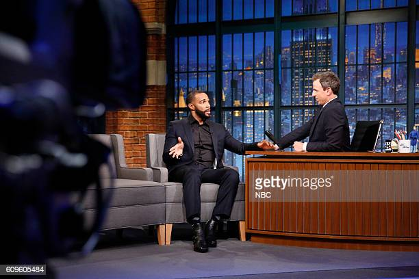 Actor Omari Hardwick during an interview with host Seth Meyers on September 21 2016