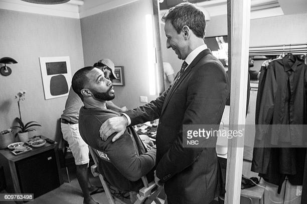 MEYERS Episode 423 Pictured Actor Omari Hardwick talks with host Seth Meyers backstage on September 21 2016