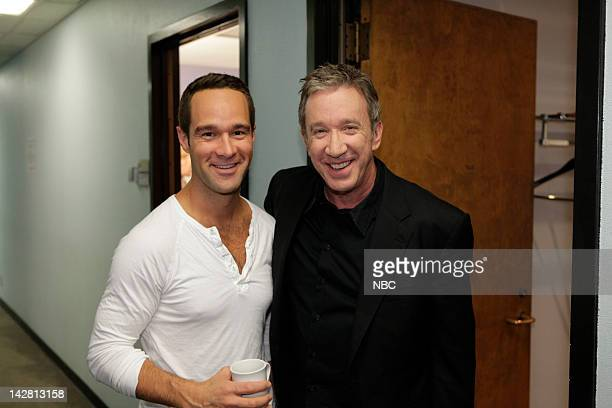 LENO Episode 4235 Pictured Actor Chris Diamantopoulos and Tim Allen backstage on April 12 2012