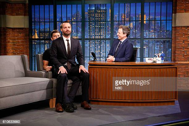 Actors Colin Jost and Will Forte during an interview with host Seth Meyers on September 26 2016