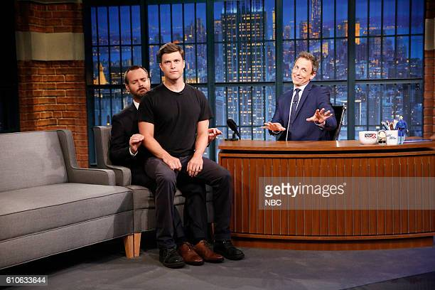 Actors Will Forte and Colin Jost during an interview with host Seth Meyers on September 26 2016
