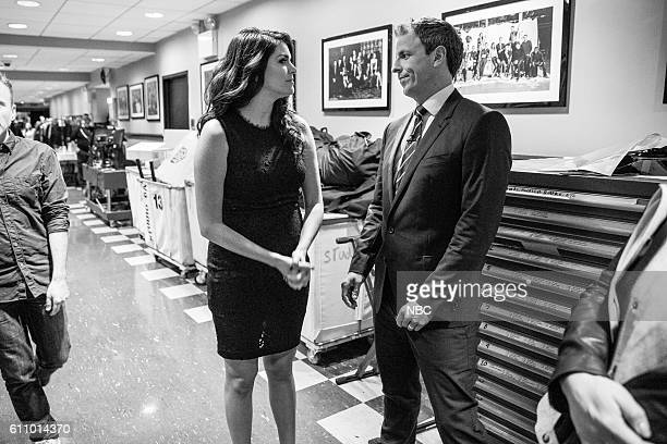 MEYERS Episode 426 Pictured Actress Cecily Strong talks with host Seth Meyers backstage on September 27 2016
