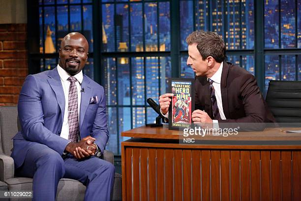 Actor Mike Colter during an interview with host Seth Meyers on September 28 2016