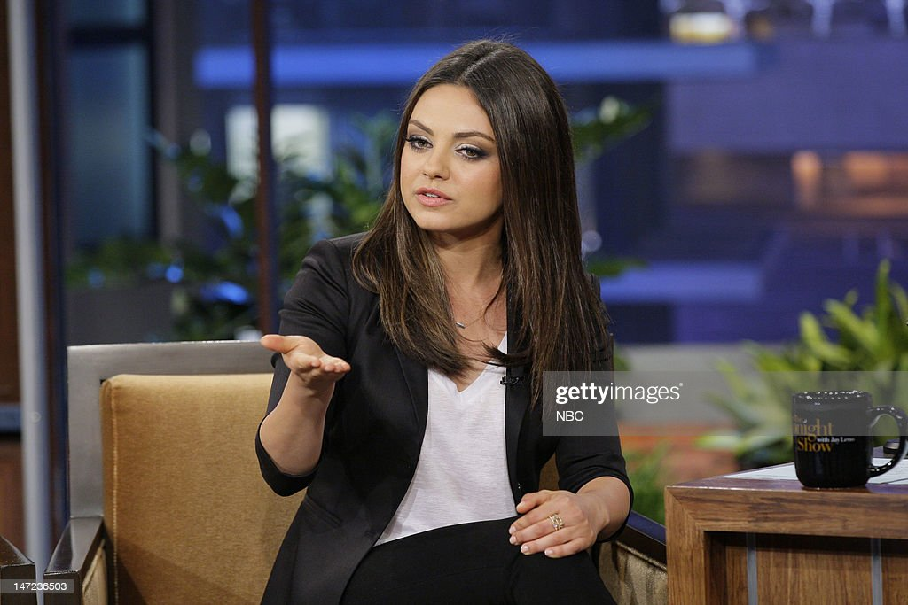 Actress <a gi-track='captionPersonalityLinkClicked' href=/galleries/search?phrase=Mila+Kunis&family=editorial&specificpeople=212845 ng-click='$event.stopPropagation()'>Mila Kunis</a> during an interview on June 27, 2012 --