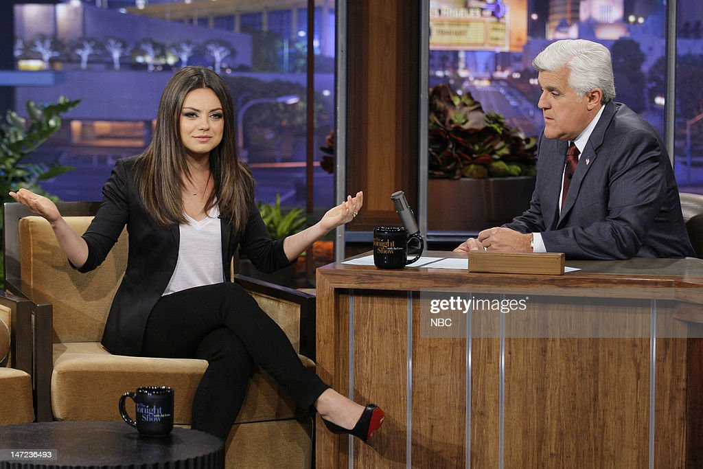 Actress Mila Kunis during an interview with host Jay Leno on June 27, 2012 --