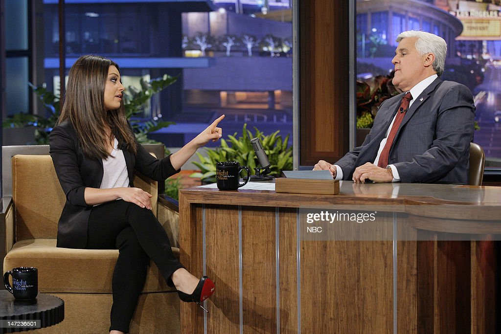 Actress <a gi-track='captionPersonalityLinkClicked' href=/galleries/search?phrase=Mila+Kunis&family=editorial&specificpeople=212845 ng-click='$event.stopPropagation()'>Mila Kunis</a> during an interview with host <a gi-track='captionPersonalityLinkClicked' href=/galleries/search?phrase=Jay+Leno+-+Television+Host&family=editorial&specificpeople=156431 ng-click='$event.stopPropagation()'>Jay Leno</a> on June 27, 2012 --
