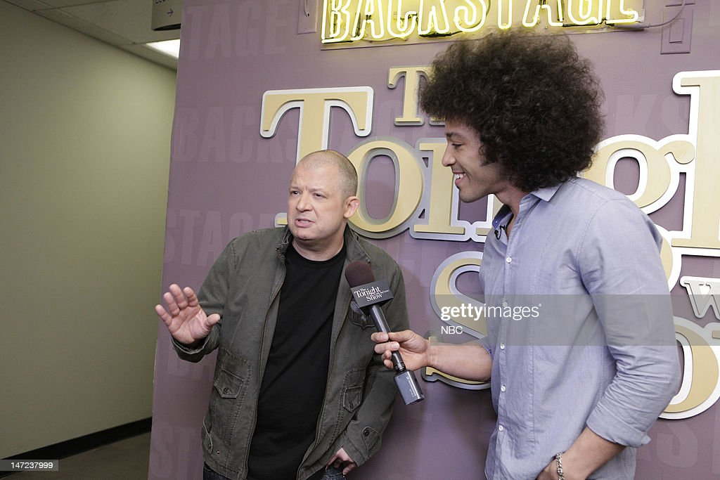 LENO -- (EXCLUSIVE COVERAGE) -- Episode 4279 -- Pictured: (l-r) Comedian Jim Nornton during an interview with Bryan Branly backstage on June 27, 2012 --