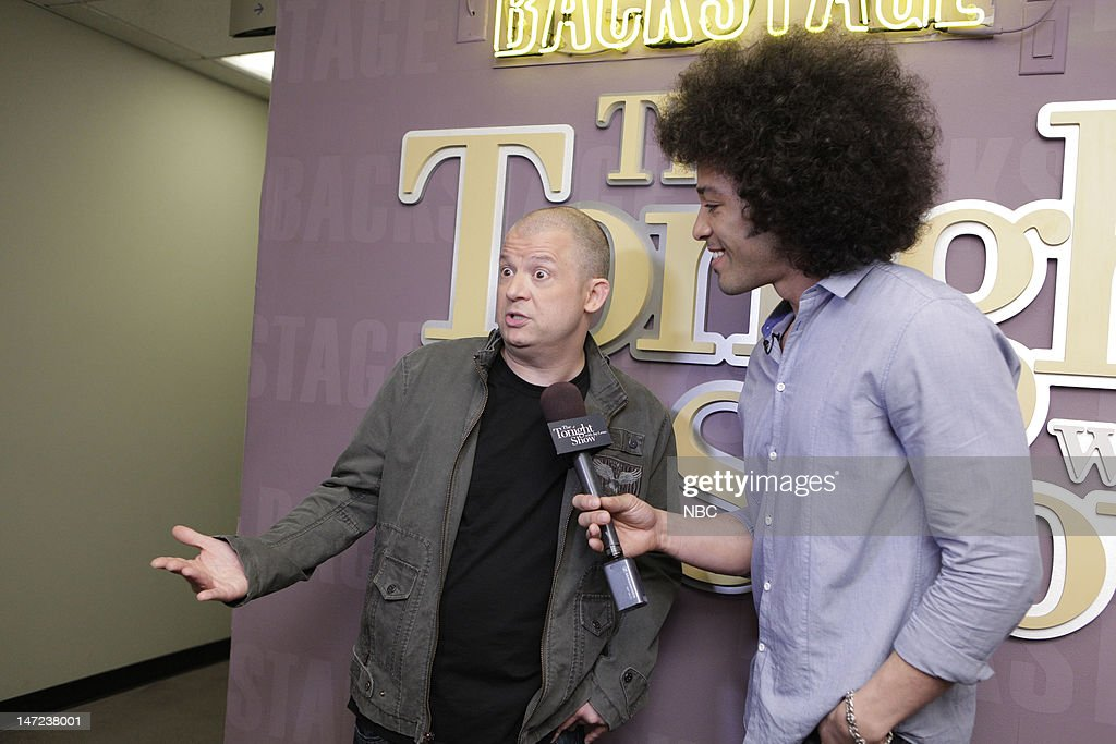 LENO -- (EXCLUSIVE COVERAGE) -- Episode 4279 -- Pictured: (l-r) Comedian Jim Nornton during an interview with <a gi-track='captionPersonalityLinkClicked' href=/galleries/search?phrase=Bryan+Branly&family=editorial&specificpeople=8915775 ng-click='$event.stopPropagation()'>Bryan Branly</a> backstage on June 27, 2012 --