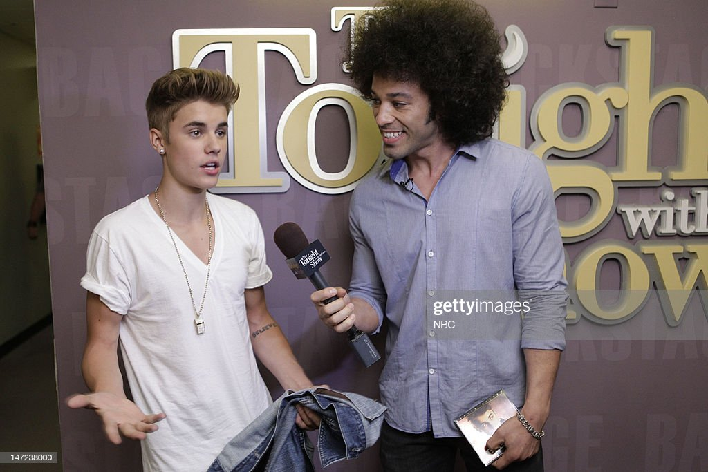 LENO -- (EXCLUSIVE COVERAGE) -- Episode 4279 -- Pictured: (l-r) Musical guest Justin Bieber during an interview with Bryan Branly backstage on June 27, 2012 --