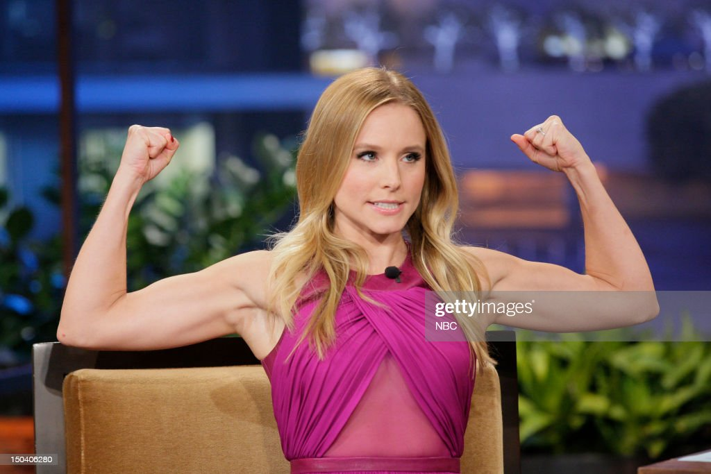 Actress <a gi-track='captionPersonalityLinkClicked' href=/galleries/search?phrase=Kristen+Bell&family=editorial&specificpeople=194764 ng-click='$event.stopPropagation()'>Kristen Bell</a> during an interview on August 16, 2012 --