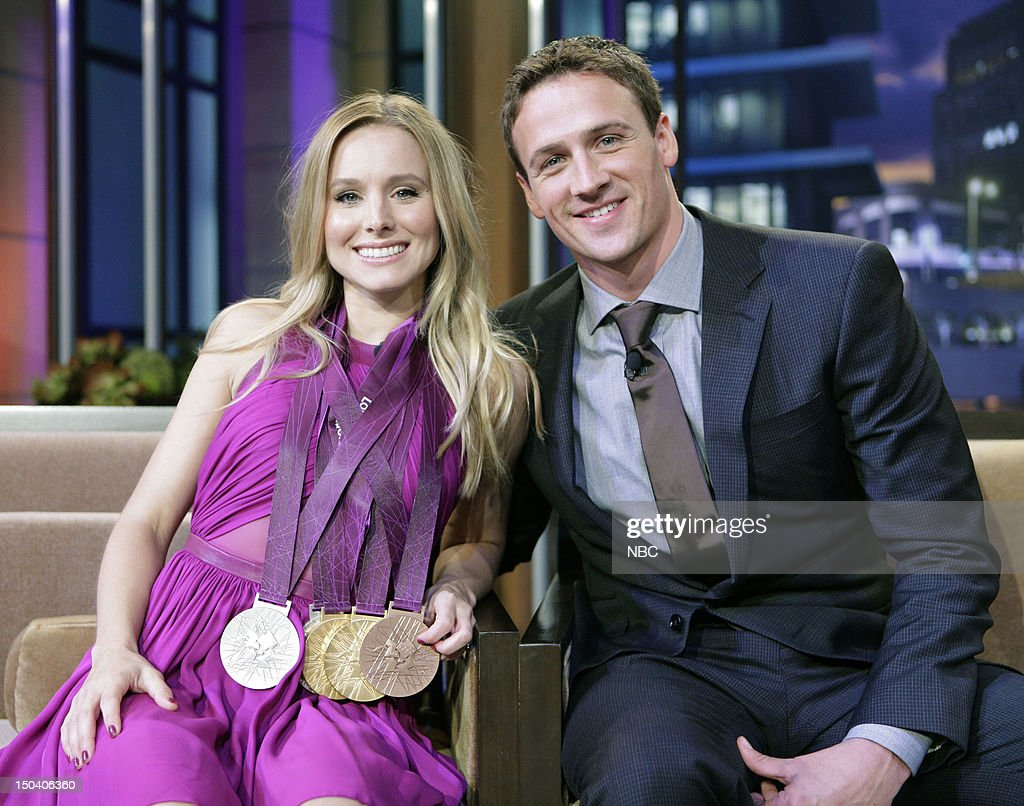 LENO -- (EXCLUSIVE COVERAGE) -- Episode 4300 -- Pictured: (l-r) Actress <a gi-track='captionPersonalityLinkClicked' href=/galleries/search?phrase=Kristen+Bell&family=editorial&specificpeople=194764 ng-click='$event.stopPropagation()'>Kristen Bell</a>, Olympic swimmer <a gi-track='captionPersonalityLinkClicked' href=/galleries/search?phrase=Ryan+Lochte&family=editorial&specificpeople=182557 ng-click='$event.stopPropagation()'>Ryan Lochte</a> during a commercial break on August 16, 2012 --