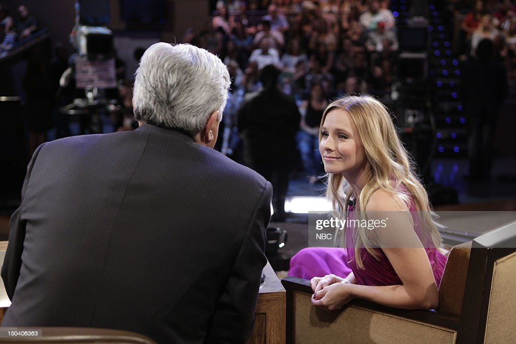 LENO -- (EXCLUSIVE COVERAGE) -- Episode 4300 -- Pictured: (l-r) Host Jay Leno talks with actress <a gi-track='captionPersonalityLinkClicked' href=/galleries/search?phrase=Kristen+Bell&family=editorial&specificpeople=194764 ng-click='$event.stopPropagation()'>Kristen Bell</a> during a commercial break on August 16, 2012 --