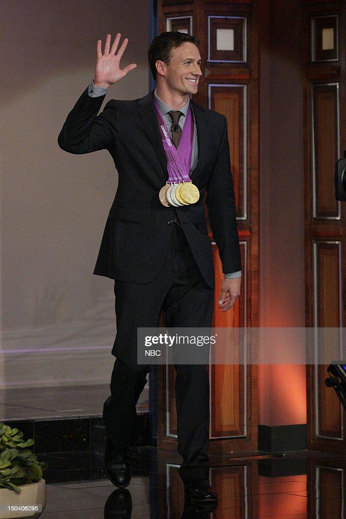 Olympic swimmer Ryan Lochte arrives on August 16, 2012 --