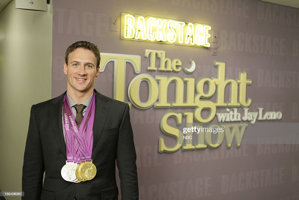 LENO -- (EXCLUSIVE COVERAGE) -- Episode 4300 -- Pictured: Olympic swimmer <a gi-track='captionPersonalityLinkClicked' href=/galleries/search?phrase=Ryan+Lochte&family=editorial&specificpeople=182557 ng-click='$event.stopPropagation()'>Ryan Lochte</a> backstage on August 16, 2012 --