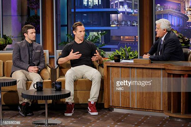 Actor Justin Timberlake Professional basketball player Steve Nash during an interview with host Jay Leno during an interview on September 18 2012
