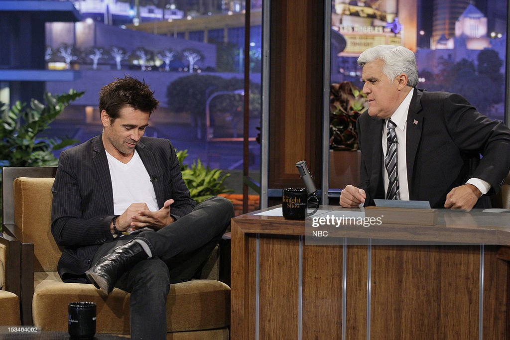 Actor <a gi-track='captionPersonalityLinkClicked' href=/galleries/search?phrase=Colin+Farrell&family=editorial&specificpeople=202154 ng-click='$event.stopPropagation()'>Colin Farrell</a> during an interview with host <a gi-track='captionPersonalityLinkClicked' href=/galleries/search?phrase=Jay+Leno+-+Television+Host&family=editorial&specificpeople=156431 ng-click='$event.stopPropagation()'>Jay Leno</a> on October 5, 2012 --
