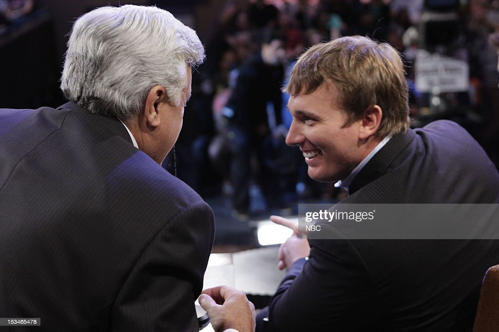 LENO -- (EXCLUSIVE COVERAGE) -- Episode 4330 -- Pictured: (l-r) Host Jay Leno talks with Medal of Honor Recipient Dakota Meyer during a commercial break on October 5, 2012 --