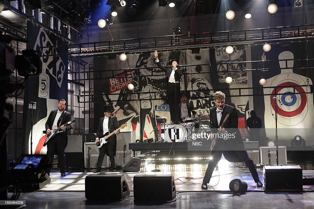 Vigilante Carlstroem (Mikael Karlsson), Dr. Matt Destruction (Mattias Bernvall), Howlin' Pelle Almqvist (Per Almqvist), Chris Dangerous (Christian Grahn), Nicholaus Arson (Niklas Almqvist) of musical guests The Hives on October 5, 2012 --