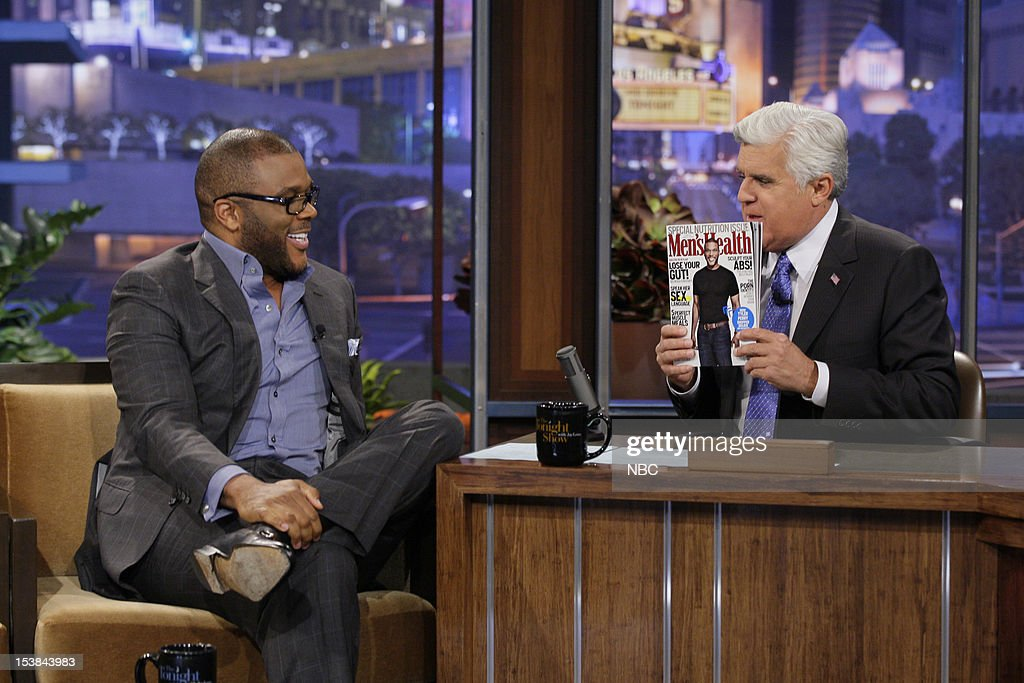 Comedian Tyler Perry during an interview with host Jay Leno on October 9, 2012 --