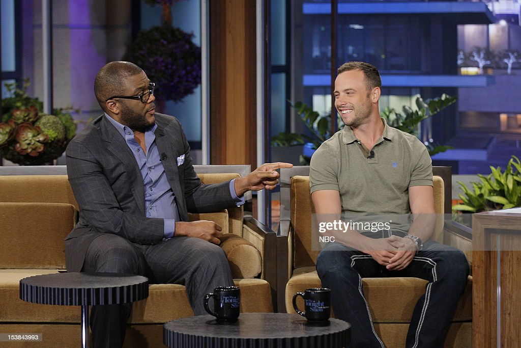 Comedian Tyler Perry, Olympian Oscar Pistorius during an interview on October 9, 2012 --
