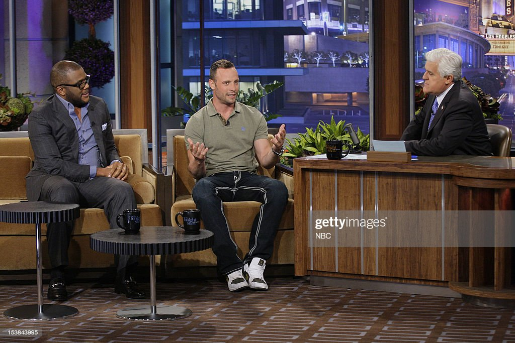 Comedian Tyler Perry, Olympian Oscar Pistorius during an interview with host Jay Leno on October 9, 2012 --