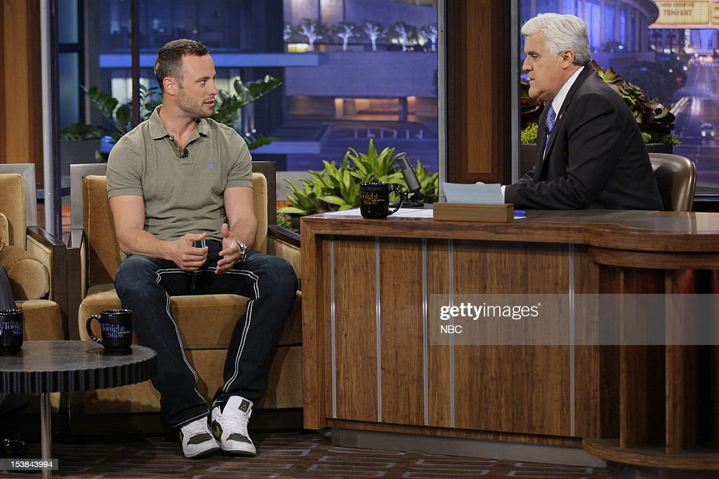 Olympian <a gi-track='captionPersonalityLinkClicked' href=/galleries/search?phrase=Oscar+Pistorius&family=editorial&specificpeople=224406 ng-click='$event.stopPropagation()'>Oscar Pistorius</a> during an interview with host <a gi-track='captionPersonalityLinkClicked' href=/galleries/search?phrase=Jay+Leno+-+Programledare&family=editorial&specificpeople=156431 ng-click='$event.stopPropagation()'>Jay Leno</a> on October 9, 2012 --