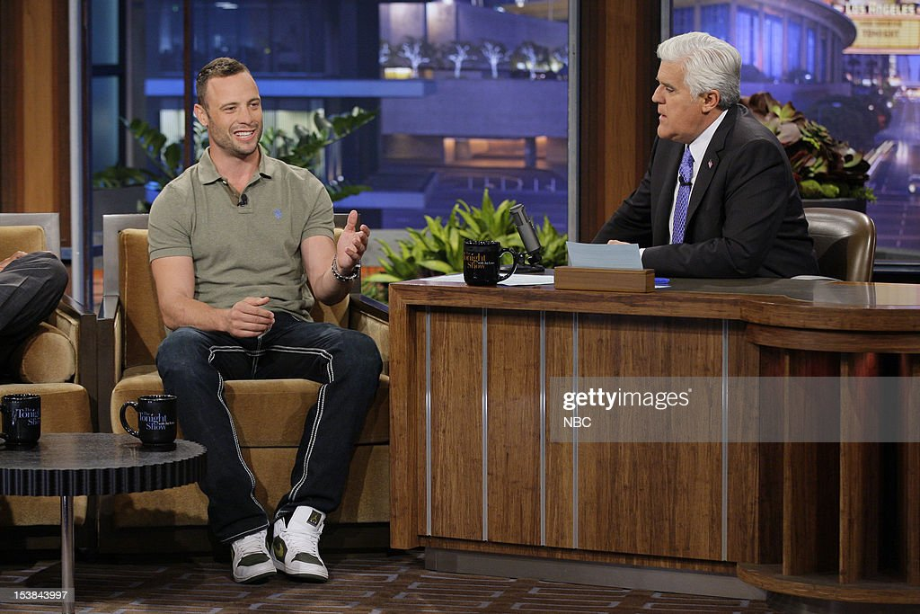 Olympian Oscar Pistorius during an interview with host Jay Leno on October 9, 2012 --