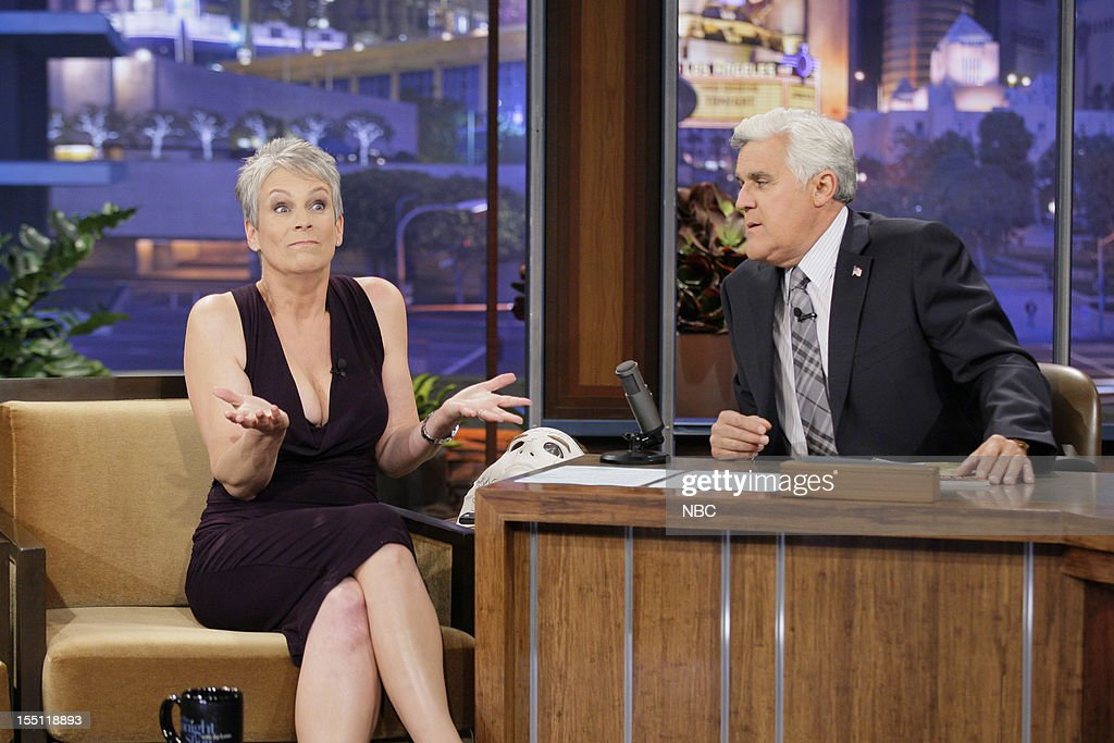 Actress <a gi-track='captionPersonalityLinkClicked' href=/galleries/search?phrase=Jamie+Lee+Curtis&family=editorial&specificpeople=202231 ng-click='$event.stopPropagation()'>Jamie Lee Curtis</a> during an interview with host <a gi-track='captionPersonalityLinkClicked' href=/galleries/search?phrase=Jay+Leno+-+Television+Host&family=editorial&specificpeople=156431 ng-click='$event.stopPropagation()'>Jay Leno</a> on November 1, 2012 --