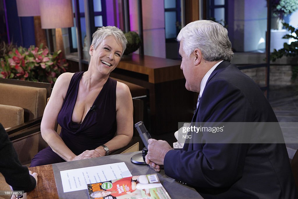 LENO -- (EXCLUSIVE COVERAGE) Episode 4344 -- Pictured: (l-r) Actress <a gi-track='captionPersonalityLinkClicked' href=/galleries/search?phrase=Jamie+Lee+Curtis&family=editorial&specificpeople=202231 ng-click='$event.stopPropagation()'>Jamie Lee Curtis</a> talks with host <a gi-track='captionPersonalityLinkClicked' href=/galleries/search?phrase=Jay+Leno+-+Television+Host&family=editorial&specificpeople=156431 ng-click='$event.stopPropagation()'>Jay Leno</a> during a commercial break on November 1, 2012 --