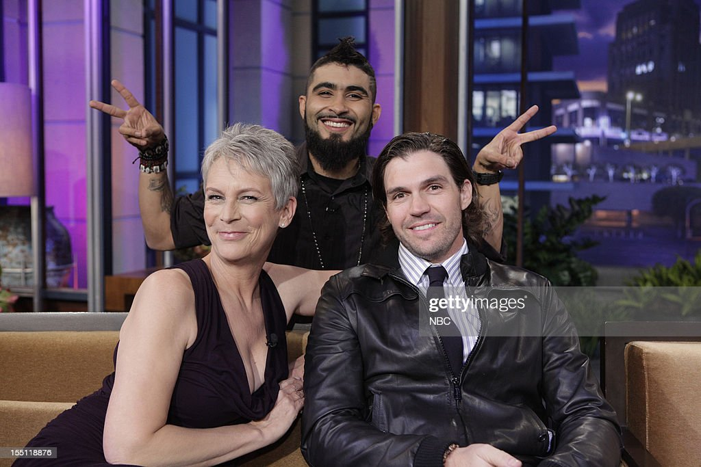 LENO -- (EXCLUSIVE COVERAGE) Episode 4344 -- Pictured: (l-r) Actress <a gi-track='captionPersonalityLinkClicked' href=/galleries/search?phrase=Jamie+Lee+Curtis&family=editorial&specificpeople=202231 ng-click='$event.stopPropagation()'>Jamie Lee Curtis</a>, World Series winners <a gi-track='captionPersonalityLinkClicked' href=/galleries/search?phrase=Sergio+Romo&family=editorial&specificpeople=5433590 ng-click='$event.stopPropagation()'>Sergio Romo</a>, <a gi-track='captionPersonalityLinkClicked' href=/galleries/search?phrase=Barry+Zito&family=editorial&specificpeople=202943 ng-click='$event.stopPropagation()'>Barry Zito</a> during a commercial break on November 1, 2012 --