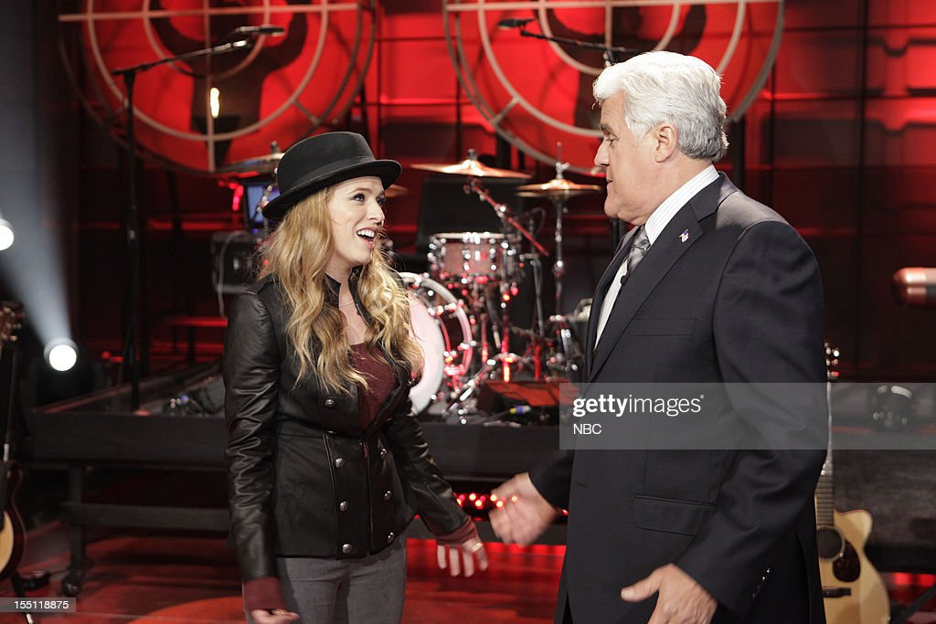 LENO -- (EXCLUSIVE COVERAGE) Episode 4344 -- Pictured: (l-r) Musical guest ZZ Ward, host <a gi-track='captionPersonalityLinkClicked' href=/galleries/search?phrase=Jay+Leno+-+Television+Host&family=editorial&specificpeople=156431 ng-click='$event.stopPropagation()'>Jay Leno</a> during a candid moment on November 1, 2012 --