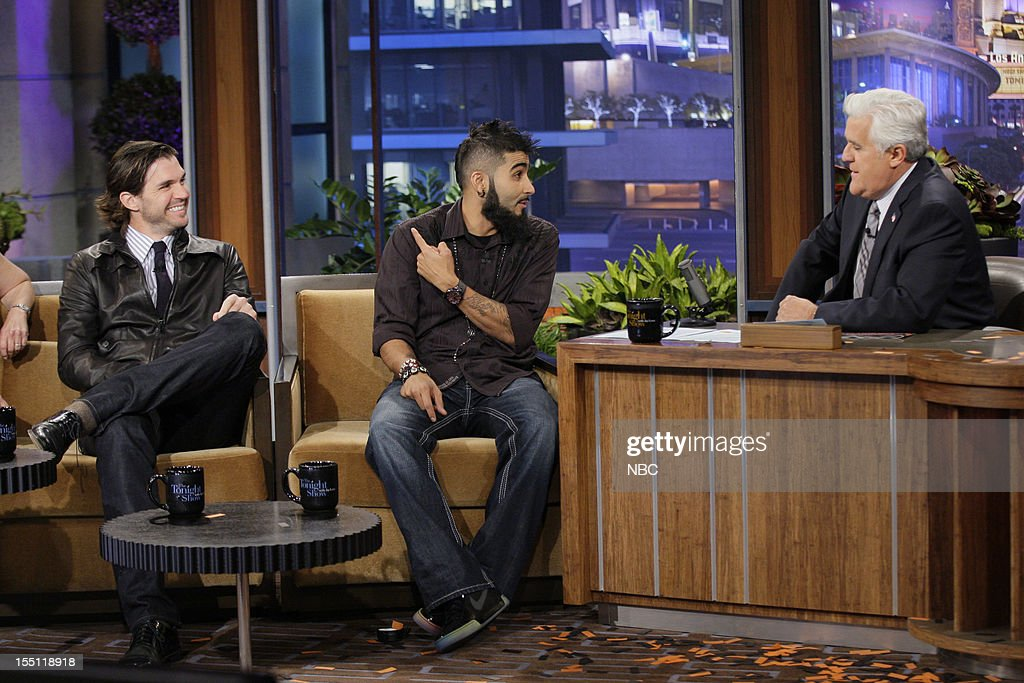 World Series winners Barry Zito and Sergio Romo during an interview with host Jay Leno on November 1, 2012 --