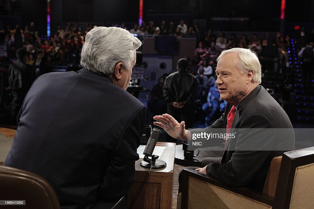 LENO -- (EXCLUSIVE COVERAGE) -- Episode 4354 -- Pictured: (l-r) Host Jay Leno talks with Chris Matthews during a commercial break on November 16, 2012 --