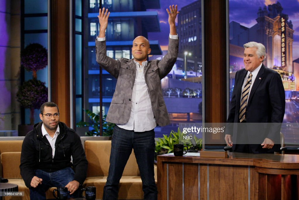 Jordan Peele and Keegan-Michael Key during an interview with host Jay Leno on November 16, 2012 --