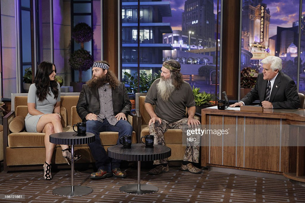 Actress <a gi-track='captionPersonalityLinkClicked' href=/galleries/search?phrase=Jennifer+Lawrence&family=editorial&specificpeople=1596040 ng-click='$event.stopPropagation()'>Jennifer Lawrence</a>, Phil Robertson during an interview with host <a gi-track='captionPersonalityLinkClicked' href=/galleries/search?phrase=Jay+Leno+-+Pr%C3%A9sentateur+t%C3%A9l%C3%A9&family=editorial&specificpeople=156431 ng-click='$event.stopPropagation()'>Jay Leno</a> on November 19, 2012 --
