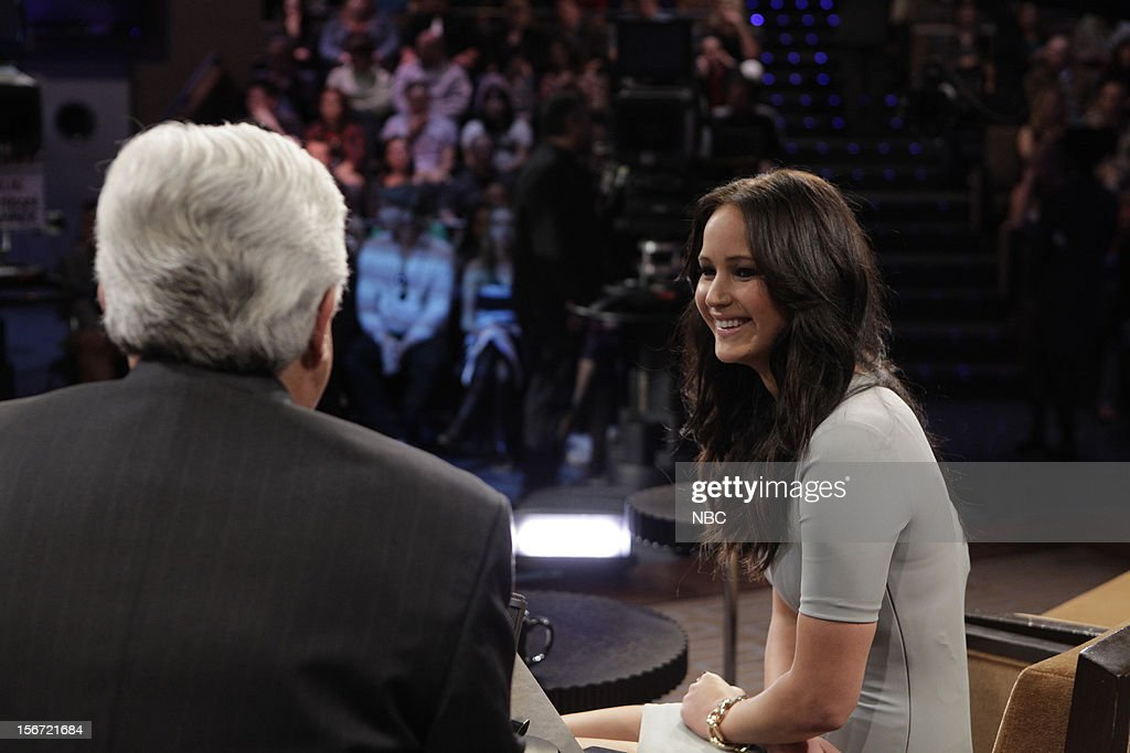 LENO -- (EXCLUSIVE COVERAGE) Episode 4355 -- Pictured: (l-r) Host Jay Leno talks with actress <a gi-track='captionPersonalityLinkClicked' href=/galleries/search?phrase=Jennifer+Lawrence&family=editorial&specificpeople=1596040 ng-click='$event.stopPropagation()'>Jennifer Lawrence</a> on November 19, 2012 --