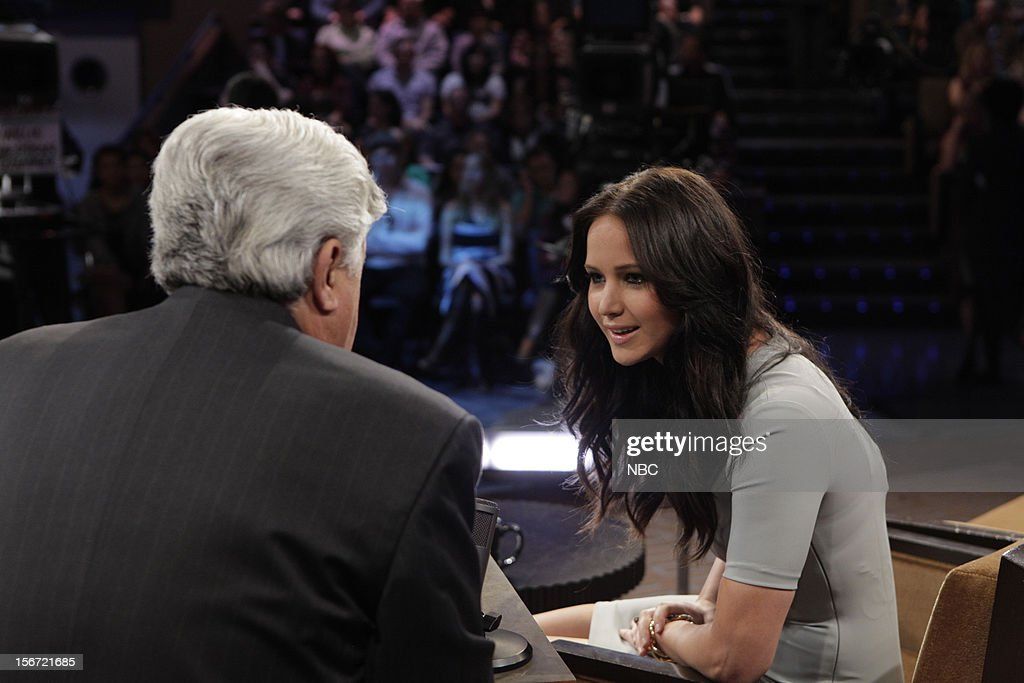 LENO -- (EXCLUSIVE COVERAGE) Episode 4355 -- Pictured: (l-r) Host Jay Leno talks with actress Jennifer Lawrence on November 19, 2012 --
